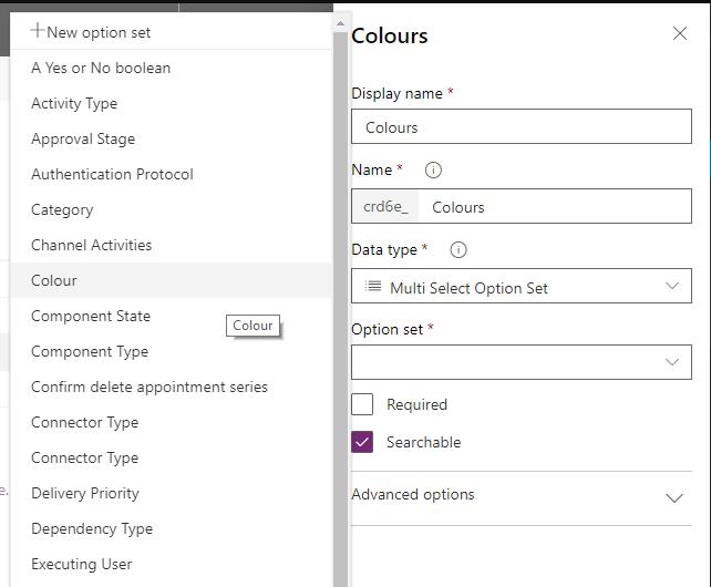 Colours Option Set