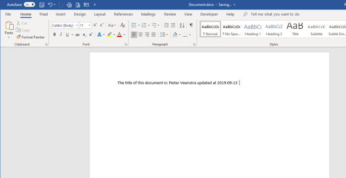 Word Document in Desktop client