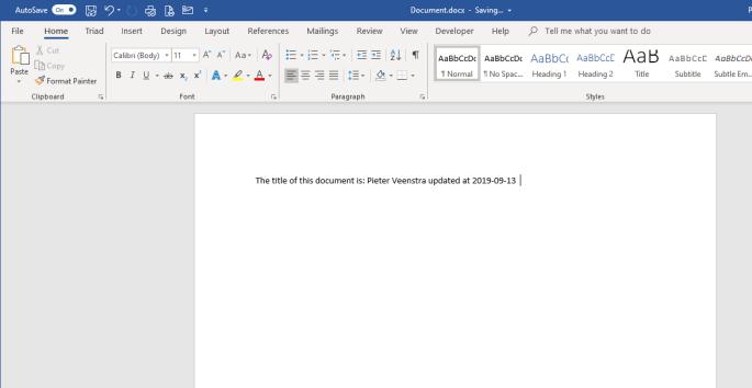 Word Document in Desktop client