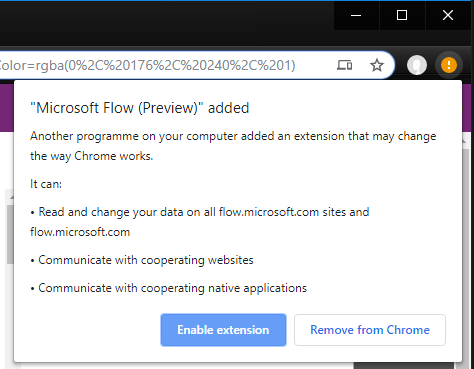 Enabled Microsoft flow Extension