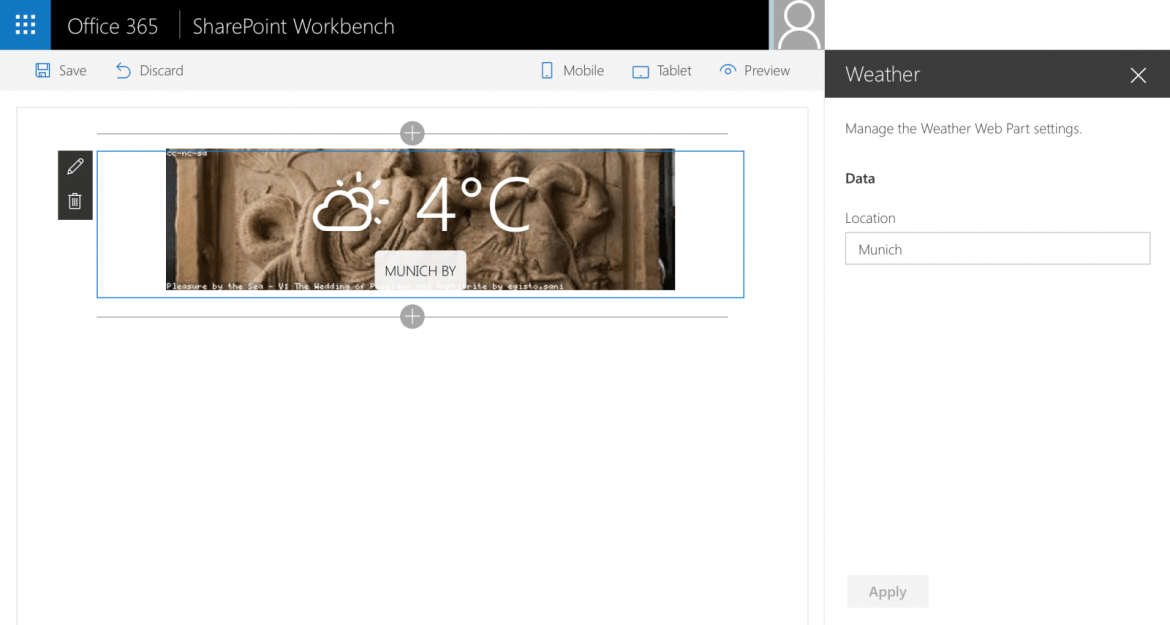 Weather Web Part displayed in SharePoint Workbench