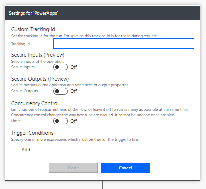 Concurrency setting on the PowerApps trigger