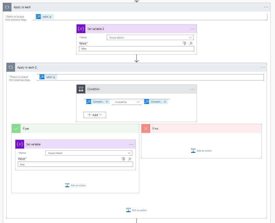 Nested Apply To each looking at all connectors