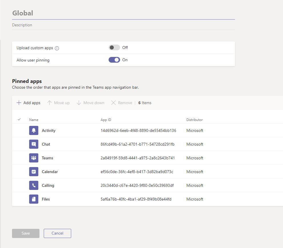 App Setup Policies