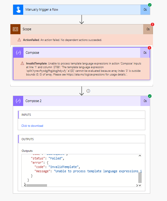 Get the error message in a compose action