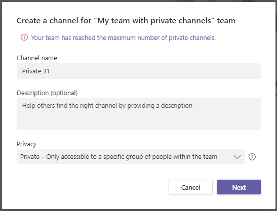 Be careful with your 30 private channels in Microsoft Teams