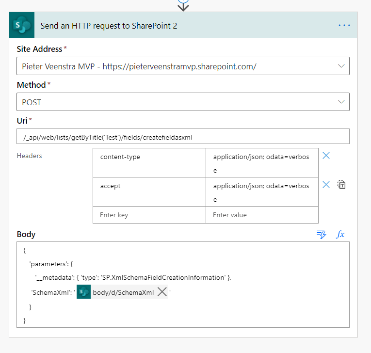 An example SharePoint REST API call in Power Automate