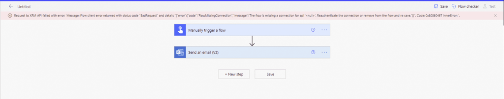 Request to XRM API failed with error, the flow is missing a connection for api '< null >' Microsoft Office 365 image 14