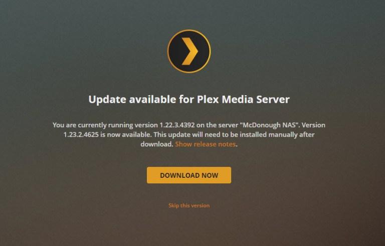 Updating Plex on a NAS