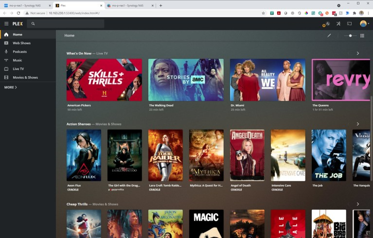 Plex as hosted on NAS
