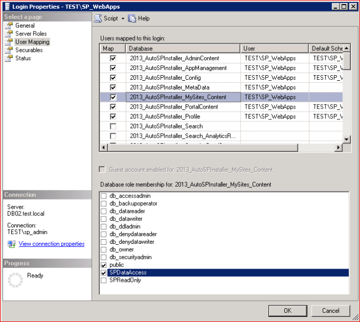 SQL login properties user maping settings
