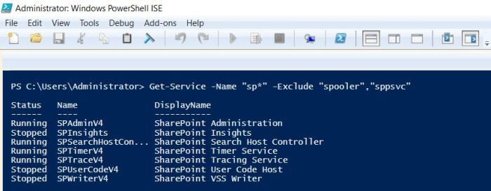 Get services begin with search string and an exclusion