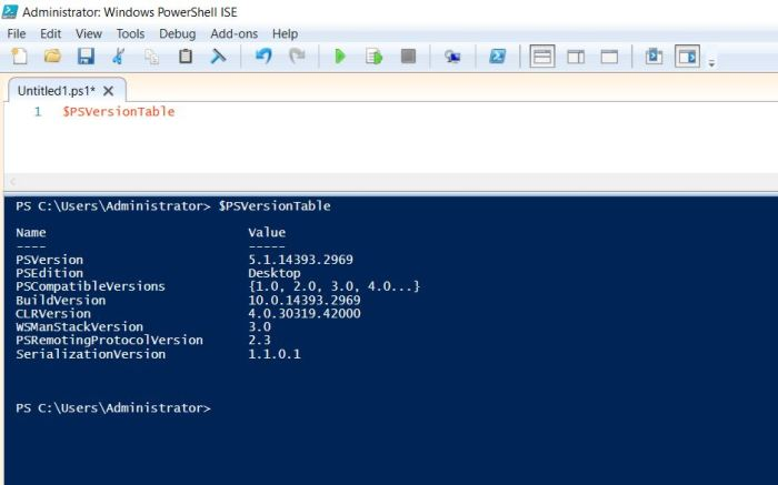 check powershell version in windows server with powershell command