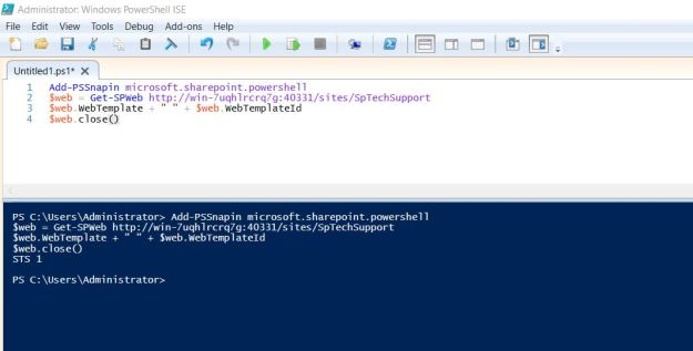 Get template id sharepoint site with powershell