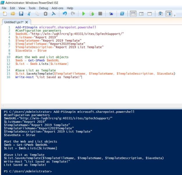 Save list as template sharepoint 2019 powershell-2