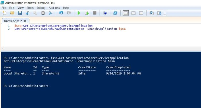 Get content source in sharepoint 2019 search service application using powershell