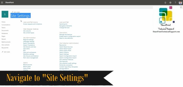 site settings option in sharepoint online for the error access denied content type policy templates
