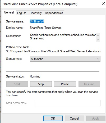 sharepoint timer services preoperties