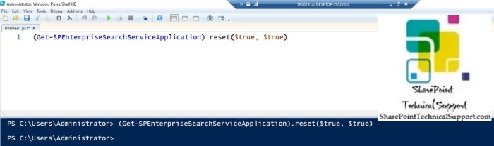 search index reset using powershell in sharepoint 2019 on-premises