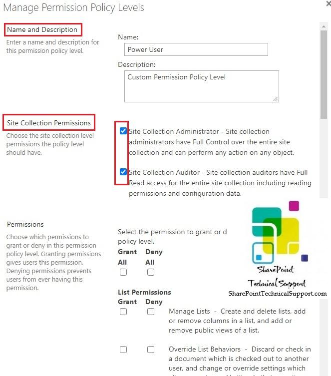 Add create custom permission policy level