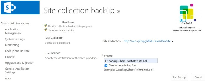 Backup site collection using central admin