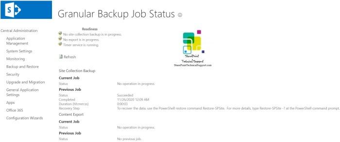 Granular Backup Job Status completed
