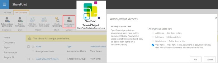 edit anonymous access permission in sharepoint