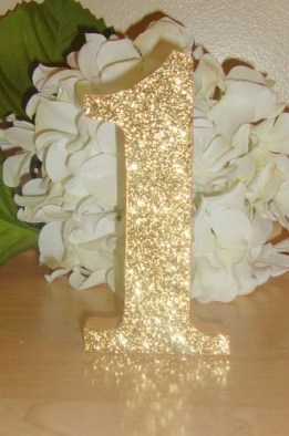 Glittered Table Number