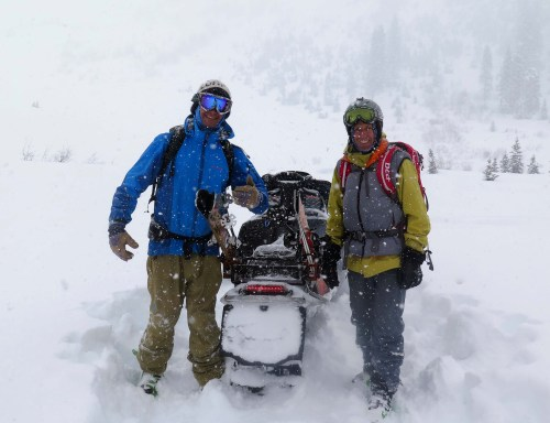 Backcountry skiers who accessed safer terrain with a snowmobile.
