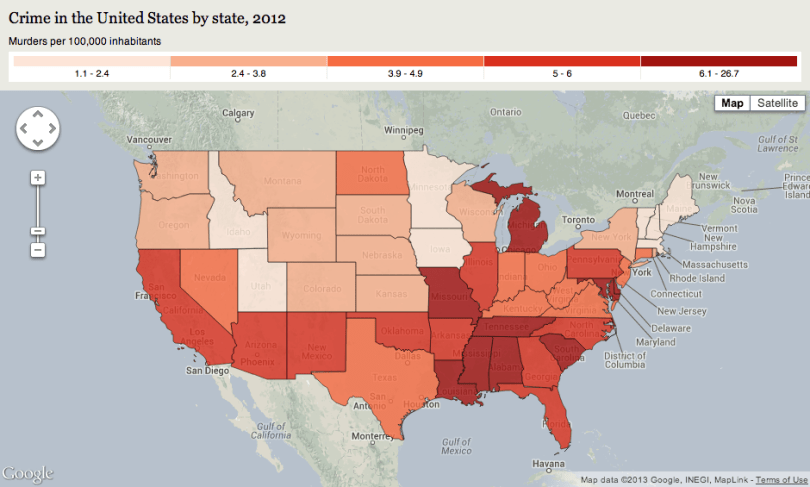 U.S. Map of Crime Rates by State