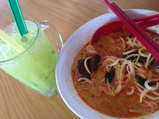 Curry Mee with Chicken Blood and Amra Juice