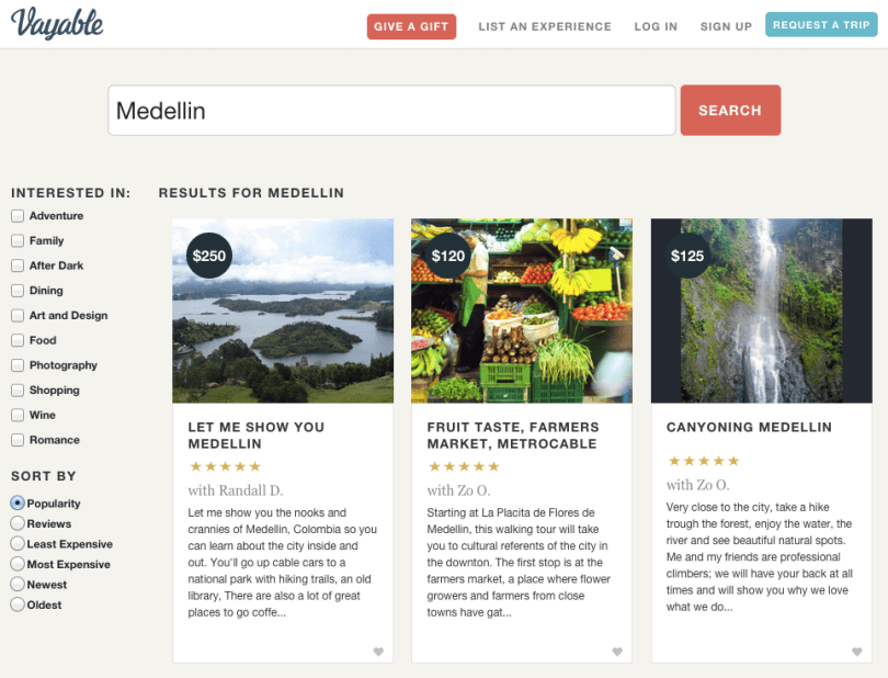 Vayable has 5 tours in Medellín. These 3 include the two cheapest options.
