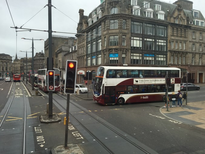 Busses dominate the streets of Edinburgh