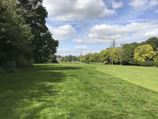Walking beside the fairway at Ley Hill Golf Club