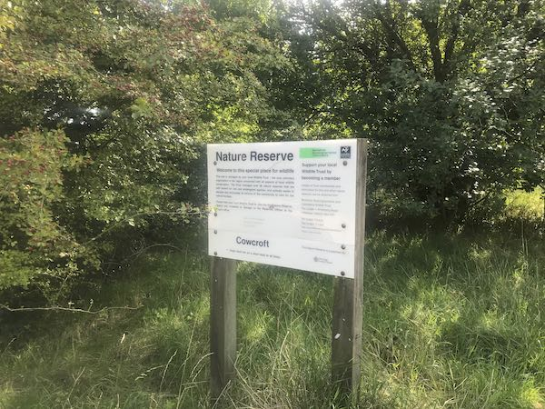 Sign at entry to Cowcroft Wood