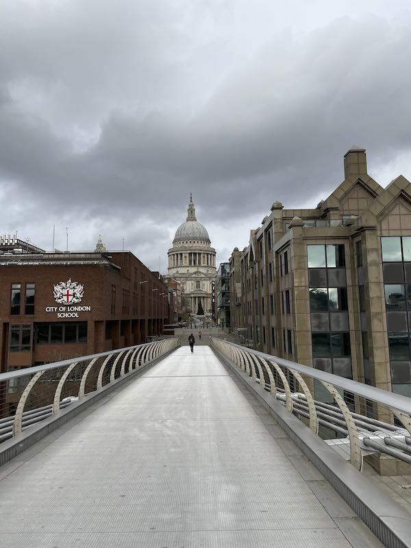 Crossing the river on a Dickensian walk near St Paul's