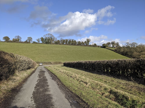 One of the quiet lanes on the mud free Chiltern walk