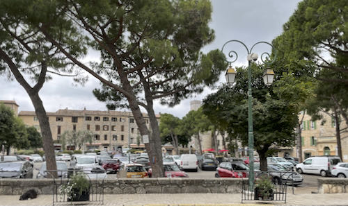 The main square in Tourette and the final point of the La Colle to Tourette walk