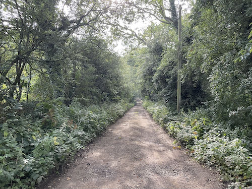 The track leaving the golf course on the Pinner to Stanmore country walk