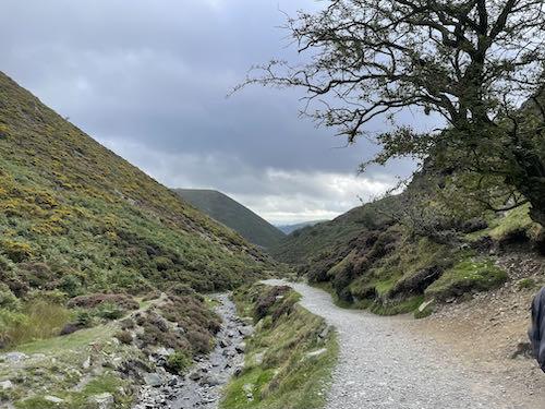 The climb begins on the Church Stretton & Long Mynd walk