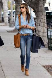 alessandra-ambrosio-best-outfits-style-stylechi-casual-light-blue-blouse-denim-jeans-brown-suede-ankle-boots