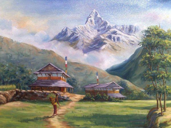 Contoh gambar montase pemandangan gunung