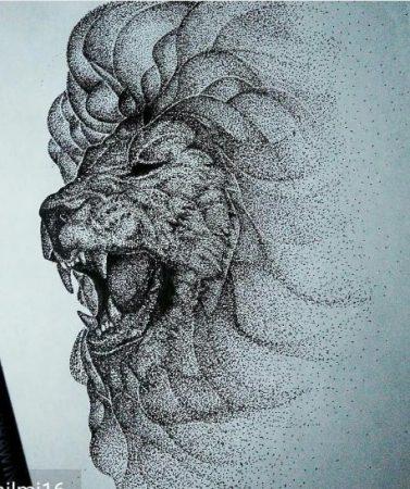 Gambar Pointilis Hewan singa