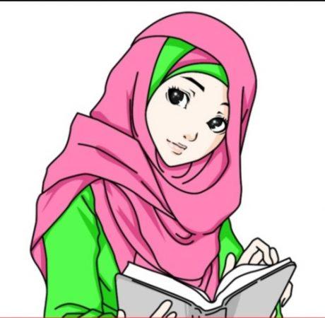 Kartun Muslimah Bembaca Buku