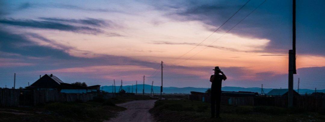 Photographing sunset Sukhbaatar, Mongolia