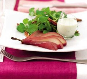 Mulled Pears with Roquefort Dressing - courtesy Good Food
