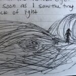 An quick sketch from my journal depicting the eye of a hawk and the entrance to a tunnel.