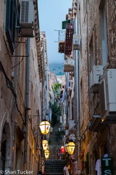 Dubrovnik's narrow streets at night