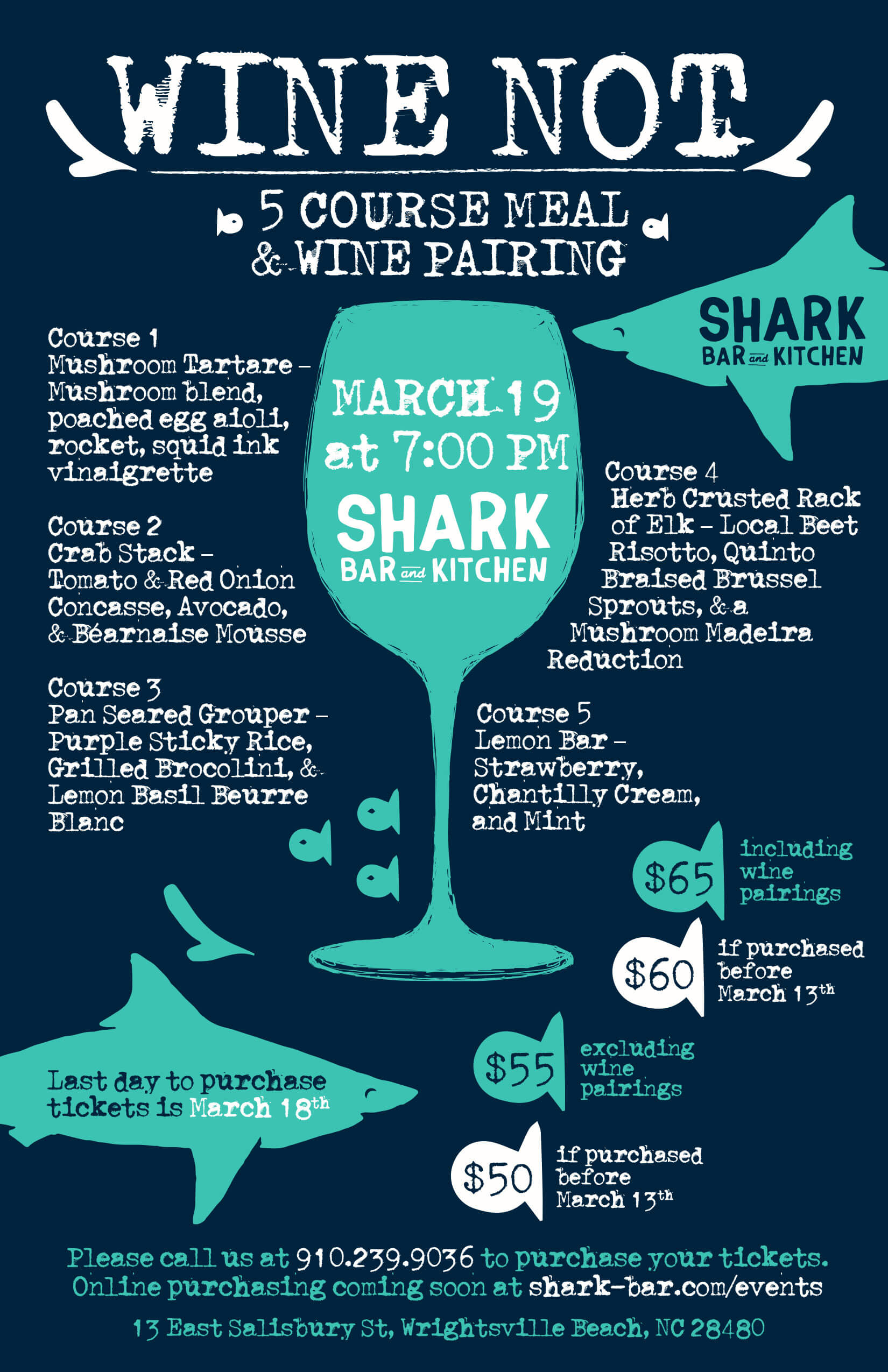 Wine Dinner at Shark Bar