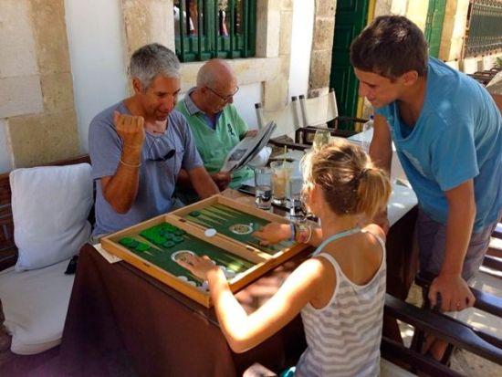 Backgammon at Cafe Tselenti in Fiskardo.